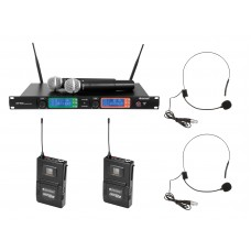 Mikrofonų komplektas OMNITRONIC Set UHF-502 2-Channel Wireless Mic System +2 siųstuvai + mikrofonai ant galvos