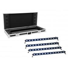 EUROLITE Set 4x LED BAR-12 QCL RGB+UV Bar + Case