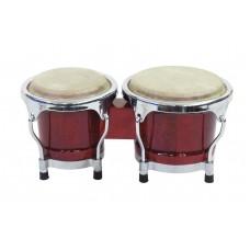 Bongo būgnai DIMAVERY BG-45 Bongo 4+ 5 raudono vyno spalvos