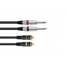 OMNITRONIC Adaptercable 2xJack/2xRCA 1.5m bk