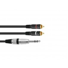 OMNITRONIC Adaptercable Jack stereo/2xRCA 1.5m