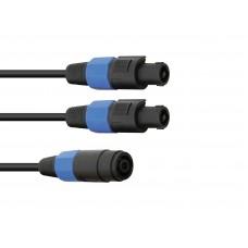 OMNITRONIC Adaptercable 2xSpeaker(M) 2pin/4pin 1m bk