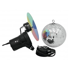 Veidrodinis gaublys EUROLITE Mirror ball set 20cm with pinspot