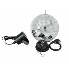 Veidrodinis gaublys EUROLITE Mirror ball Set 20cm with LED spot