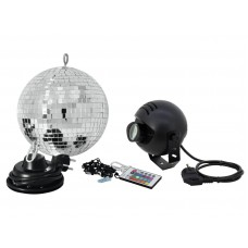 Veidrodinis gaublys EUROLITE Mirror ball set 20cm with LED RGB spot RC