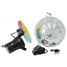 Veidrodinis gaublys EUROLITE Mirror ball set 30cm with pinspot