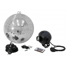 Veidrodinis gaublys EUROLITE Mirror ball set 30cm with LED RGB spot RC