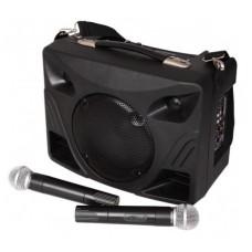 Nešiojama garso sistema - bevielė kolonėlė su USB, MP3, SD, 2 vnt. VHF belaidžiai mikrofonai